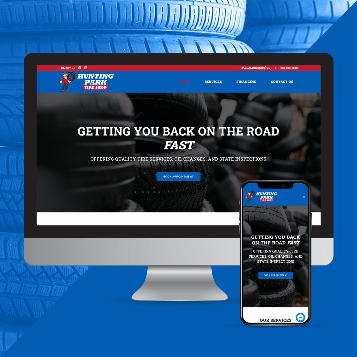 Website design for tire shop