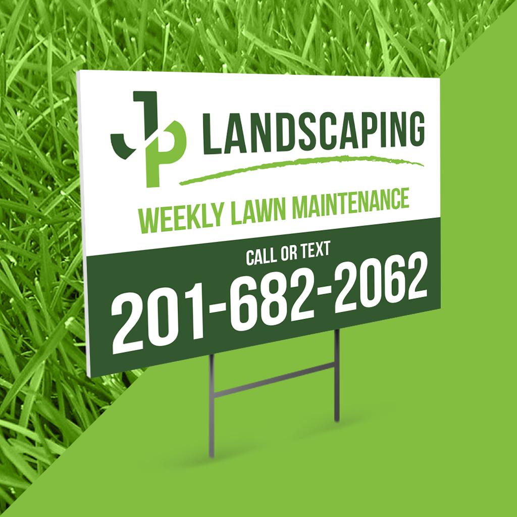 Yard sign design for landscaping