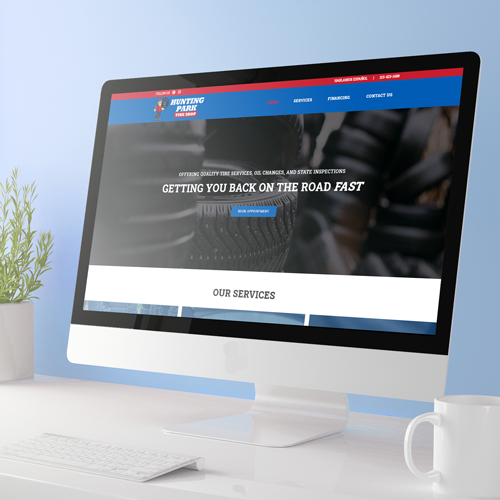 Computer showing tire shop website